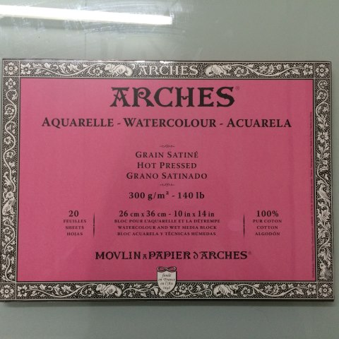 "Arches Watercolor Block, Hot Pressed (10""x14"", 20 sheets, 300 gsm)"