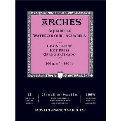 "Arches Hot Pressed Watercolor Pad (12 Sheets, Natural White, 9""x12"", 300 gsm)"