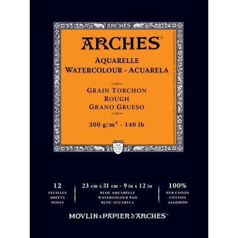 "Arches Rough Watercolor Pad (12 Sheets, Natural White, 9""x12"", 300 gsm)"